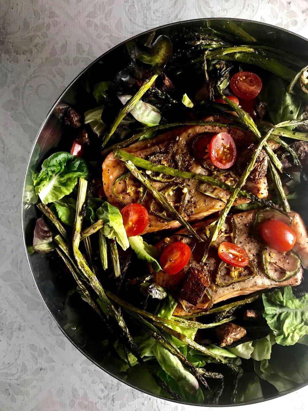 Salmon, asparagus, and potato salad