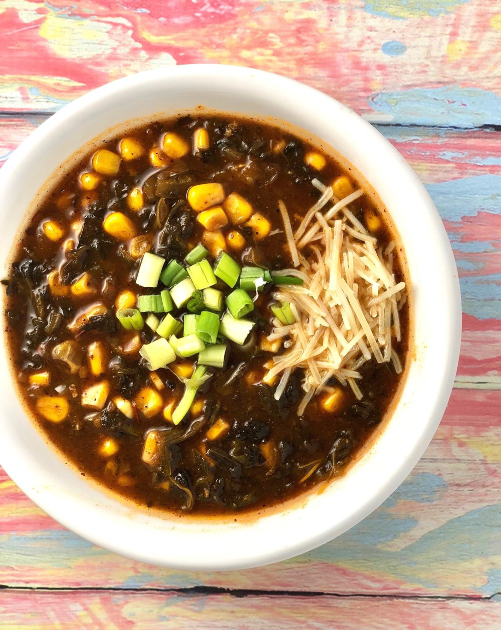 spinach and corn enchilada soup