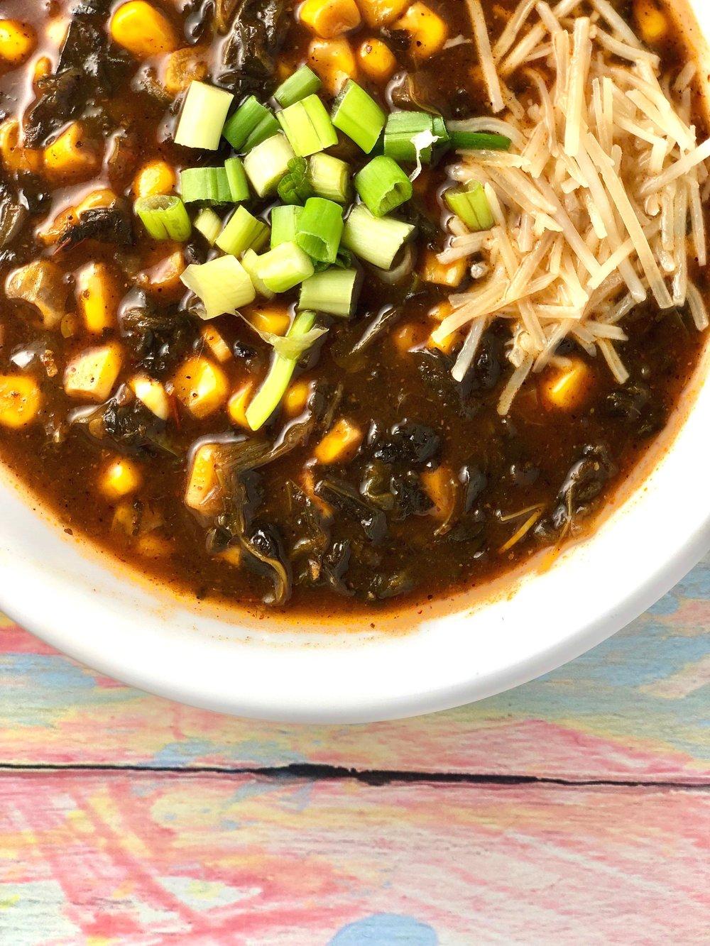 Spinach and corn enchilada soup - closeup