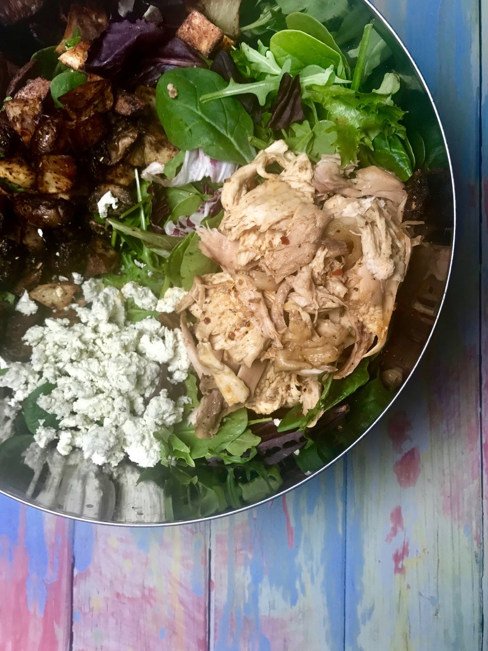 roasted chicken, mushroom, and potato salad