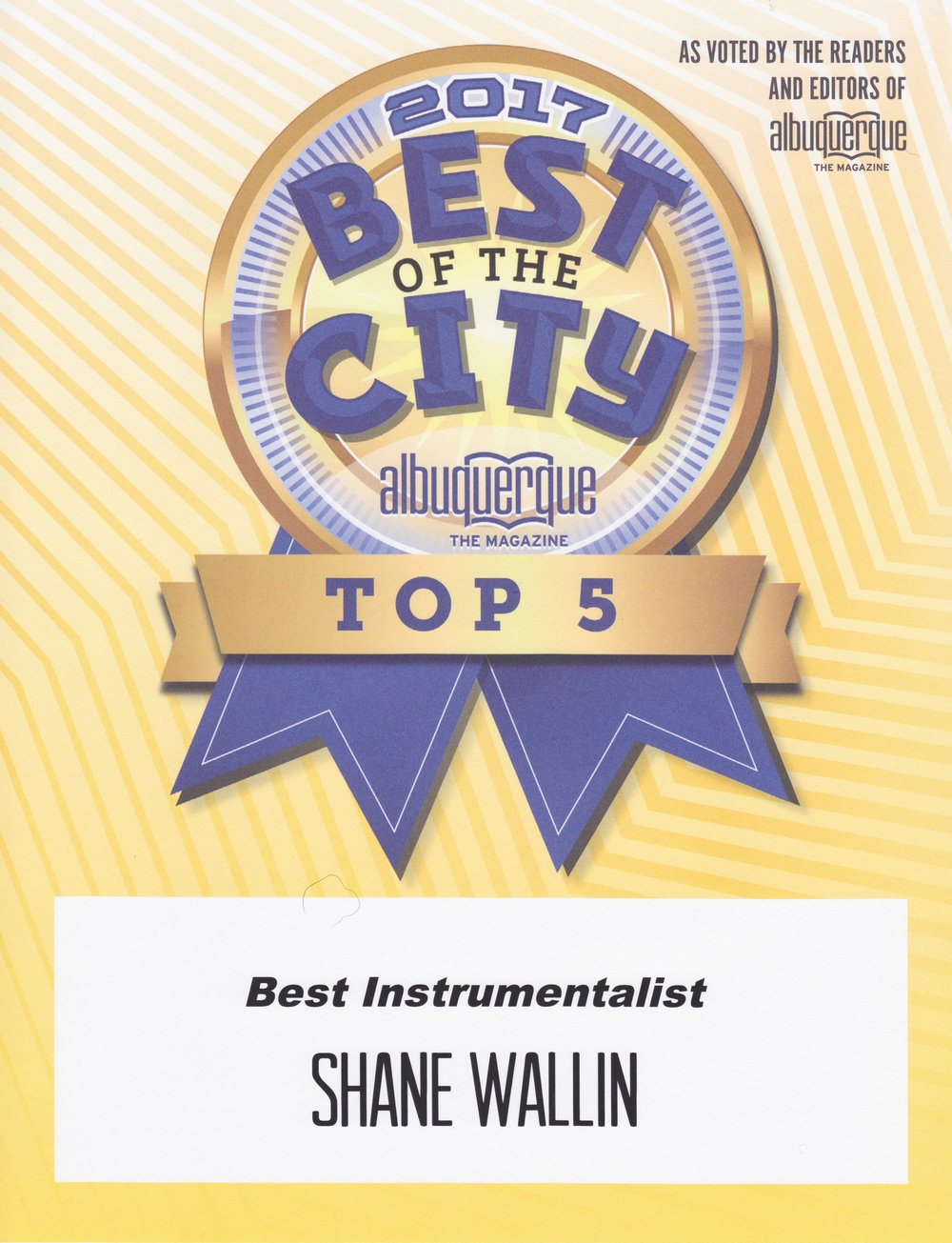 TOP INSTRUMENTALISTS 2017, NEW MEXICO by ALBUQUERQUE THE MAGAZINE.