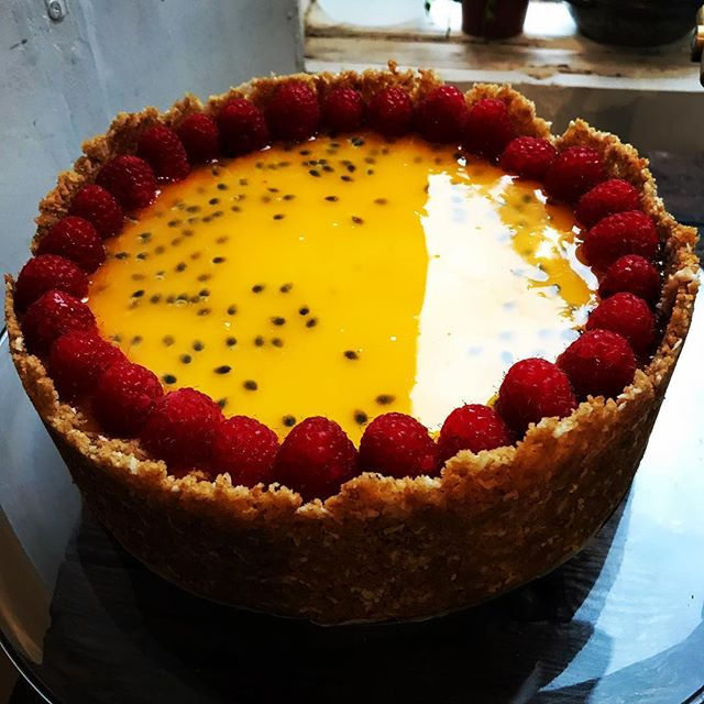 Practising mirror glazes. Passion fruit, coconut and raspberry cheesecake. #dayoff #chompsky #dessert