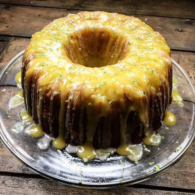 Pineapple upside down bundt cake. With passion fruit curd and lime drizzle. #bake #wedocakestoo