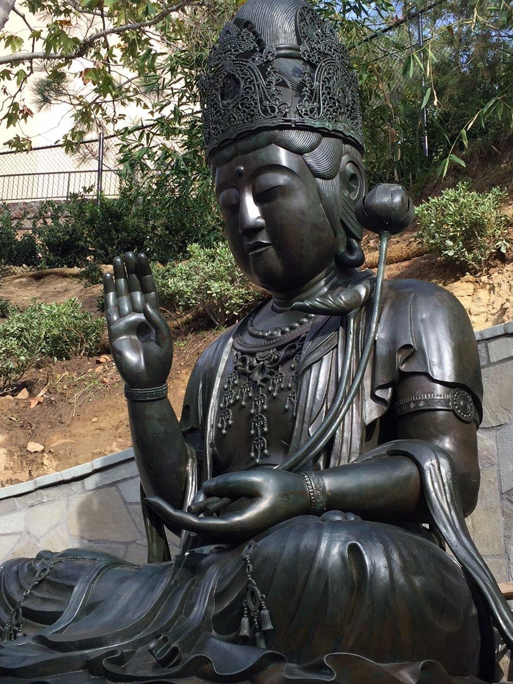 bronze kannon bosatsu as seen in JFG's lower garden outdoor exhibit