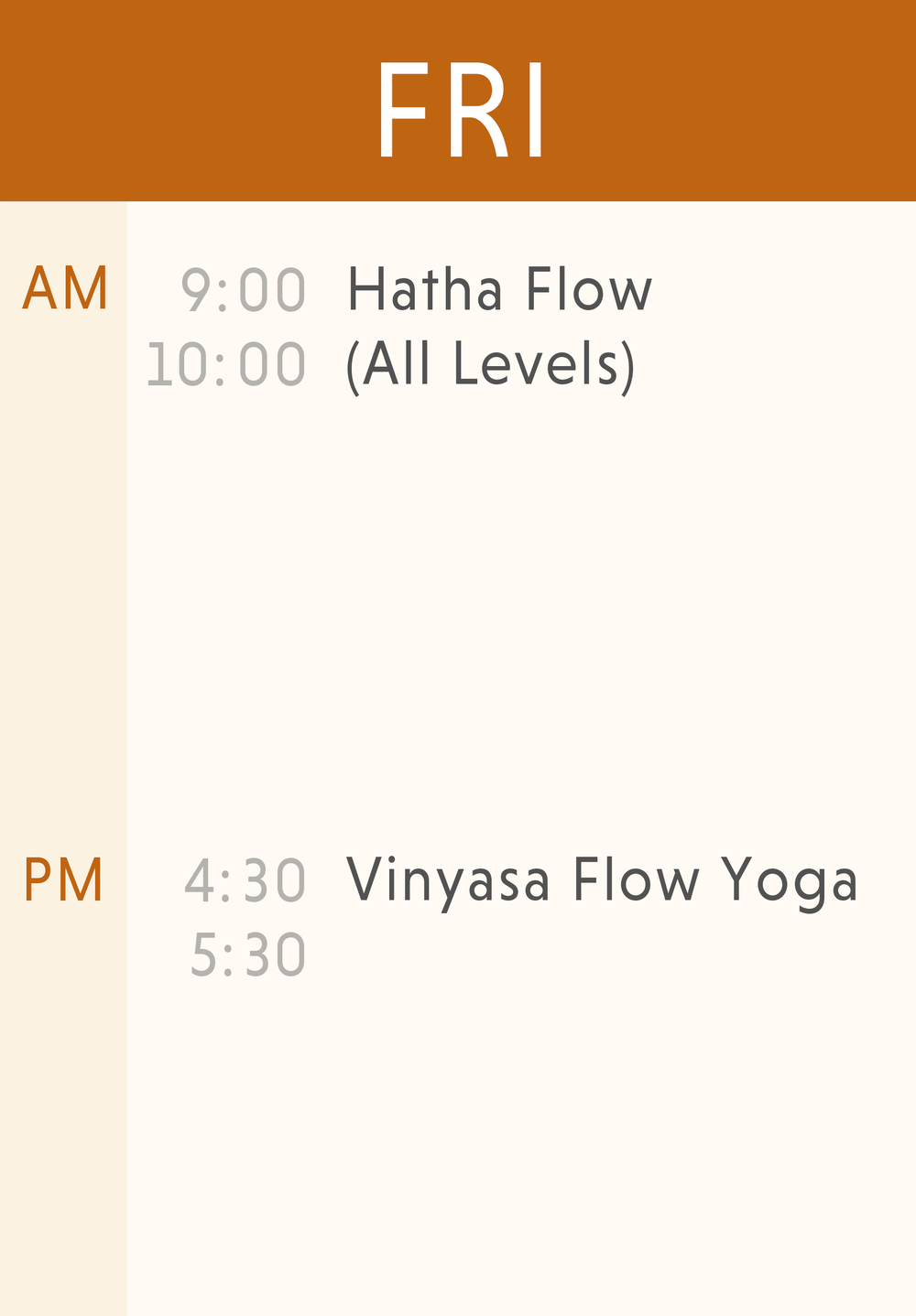 Weekly Classes-Friday