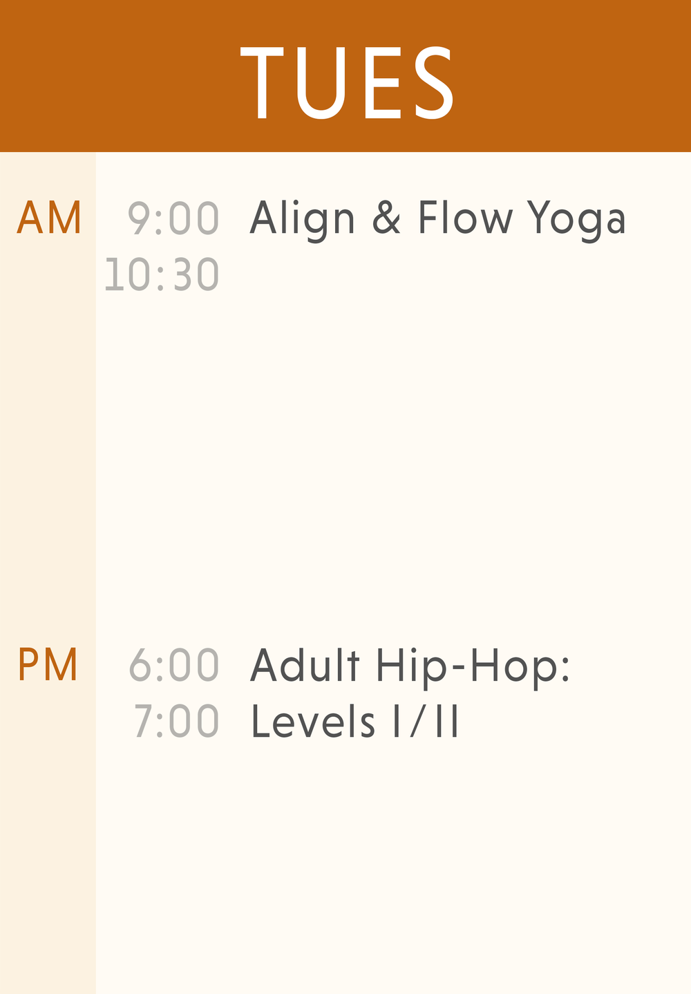 Weekly Classes-Tuesday