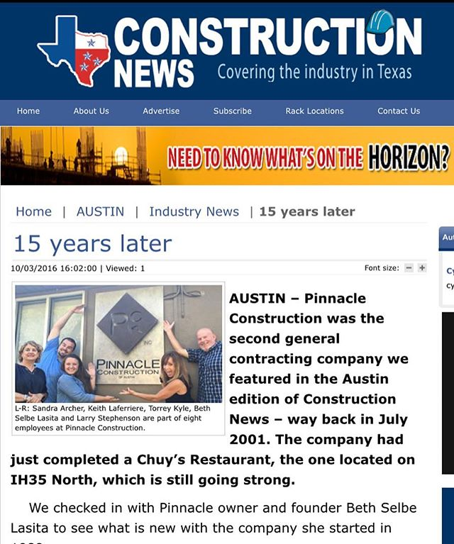 Big thank you to #constructionnews for featuring Pinnacle Construction in your article!  http://www.constructionnews.net/austin/industry-news-au/11858-15-years-later.html