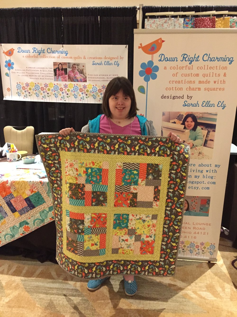 Down Right Charming  features colorful collection of custom quilts and creations designed by Sarah Ellen Ely.