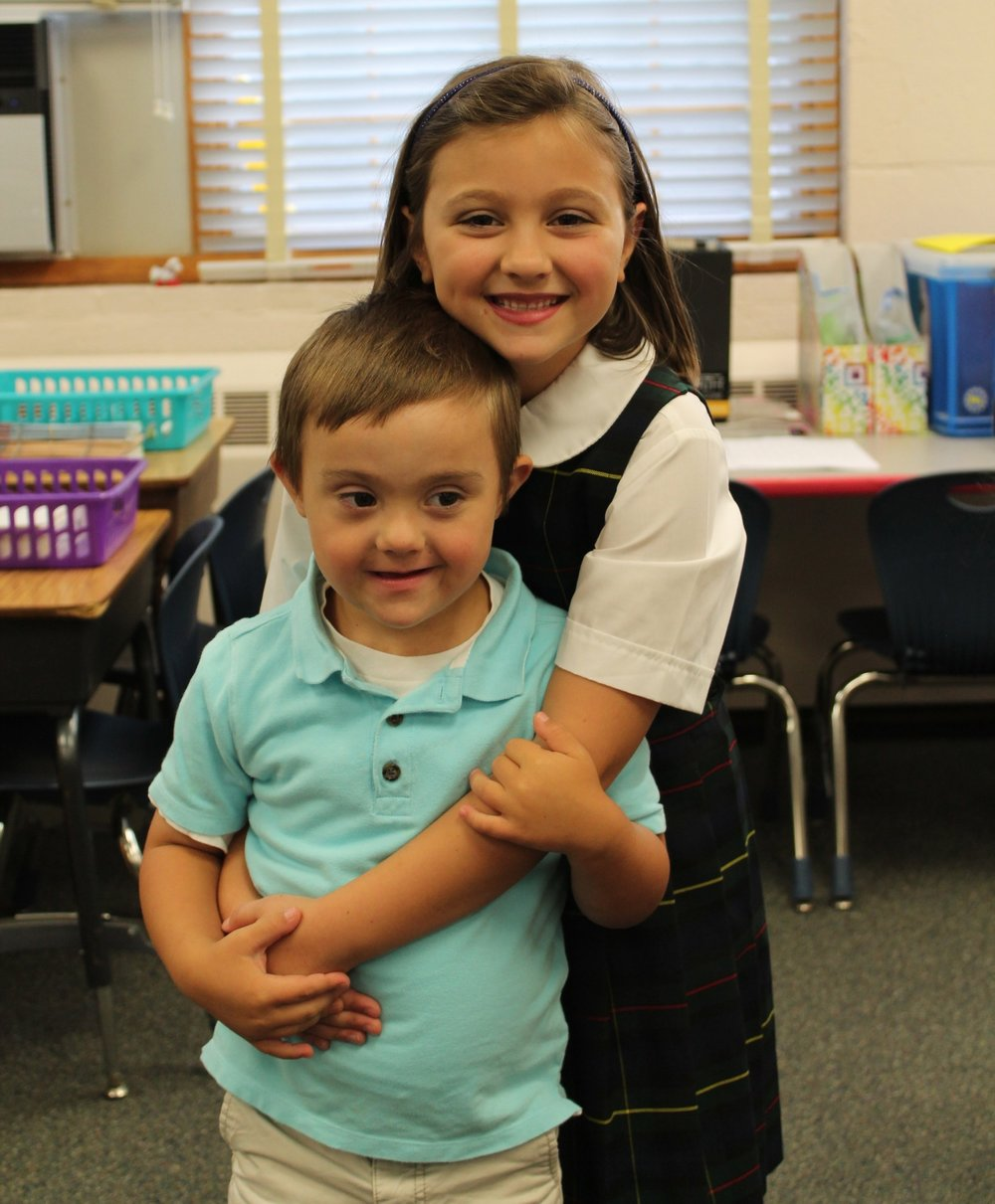 Tobin walked Zoe to class on her first day of second grade