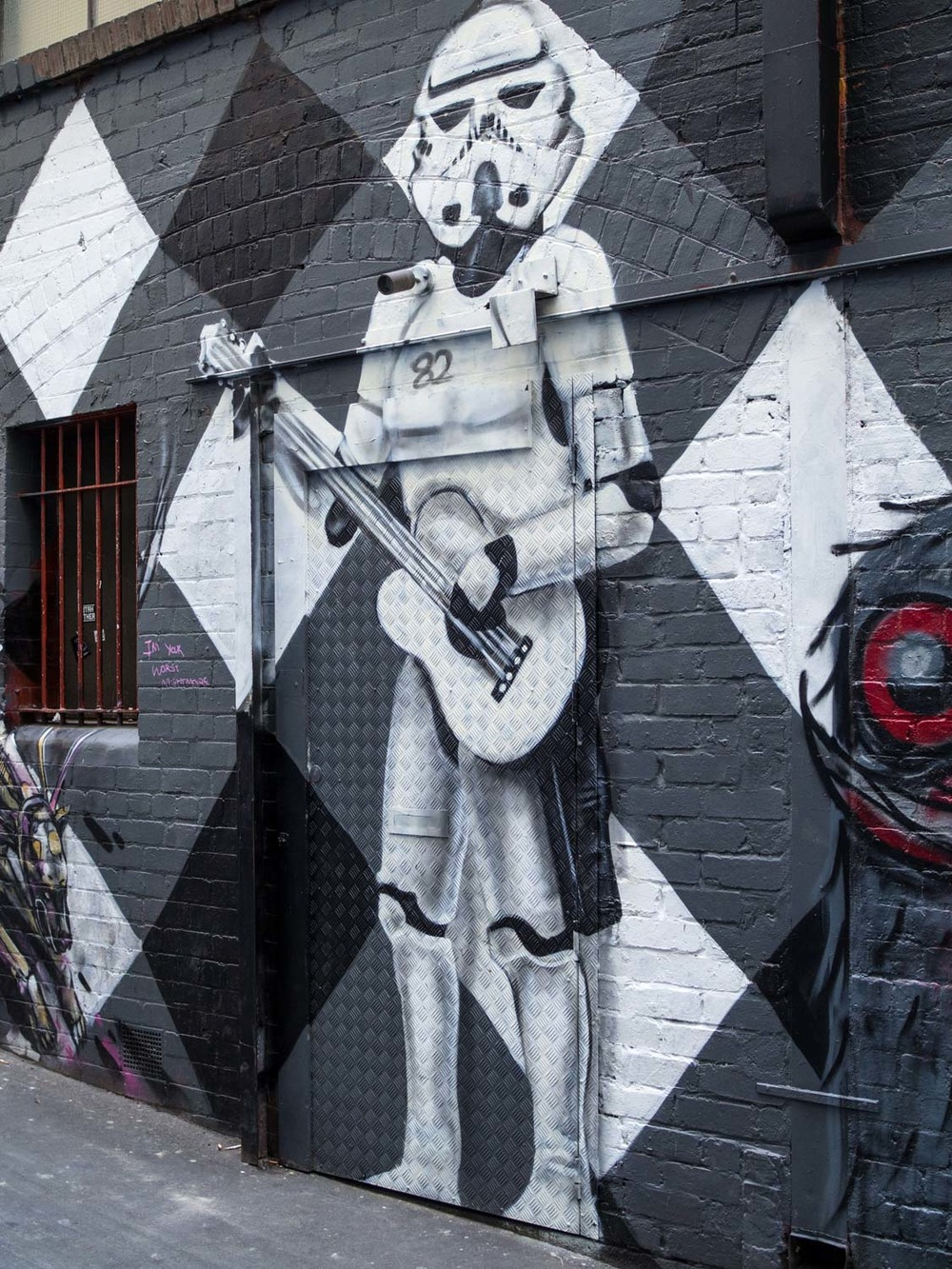 A Stormtrooper guarding AC/DC Lane, Melbourne.