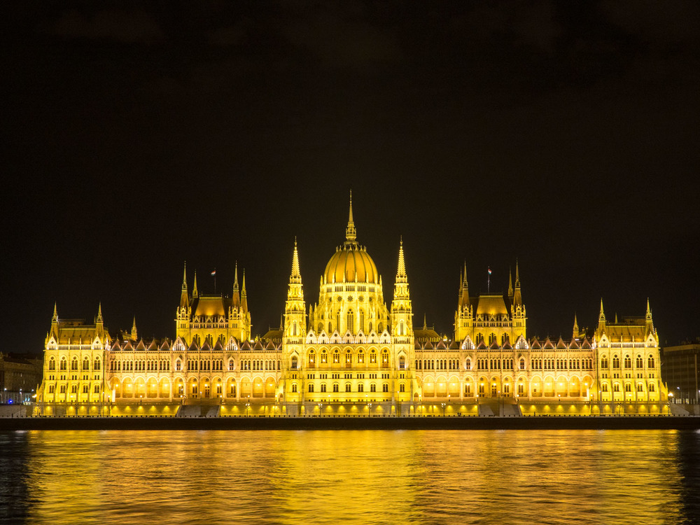 Budapest Parliament building at night.