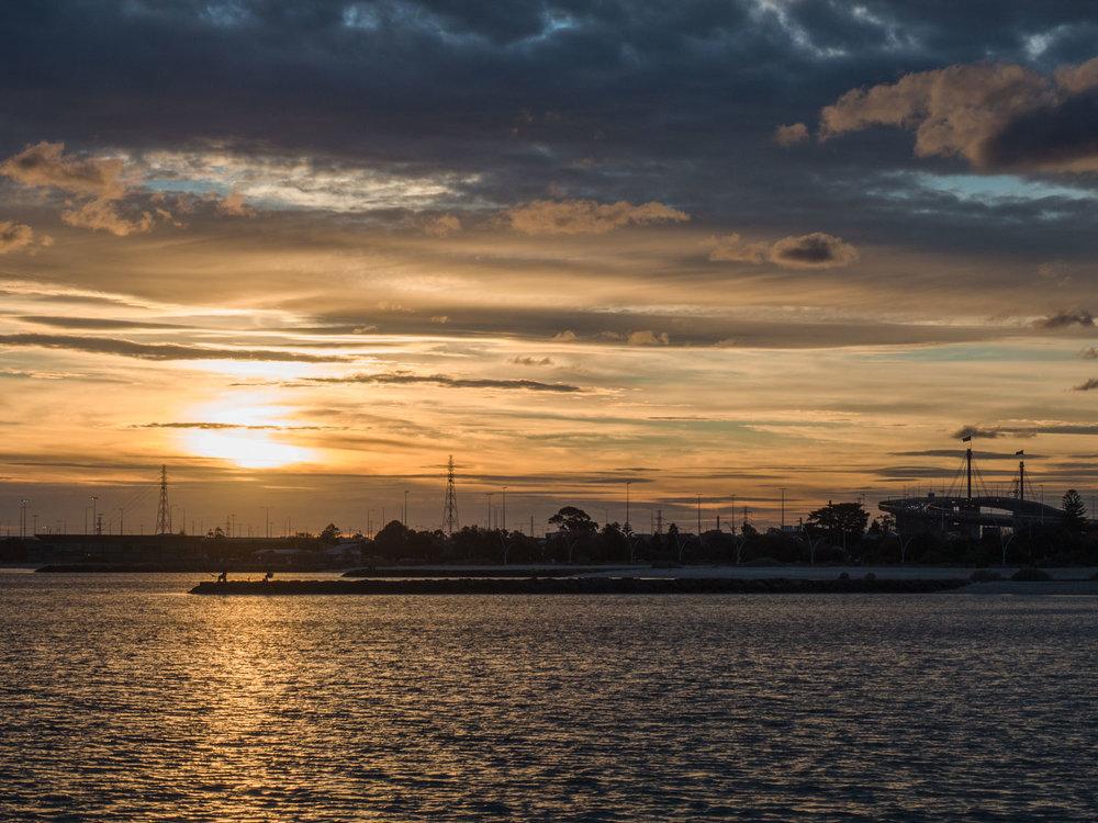 Sunset over the Westgate bridge, Melbourne.