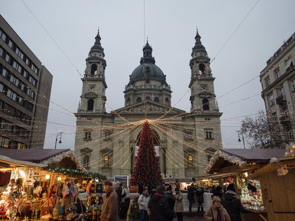 Christmas market in front of St Stephens Basilica.