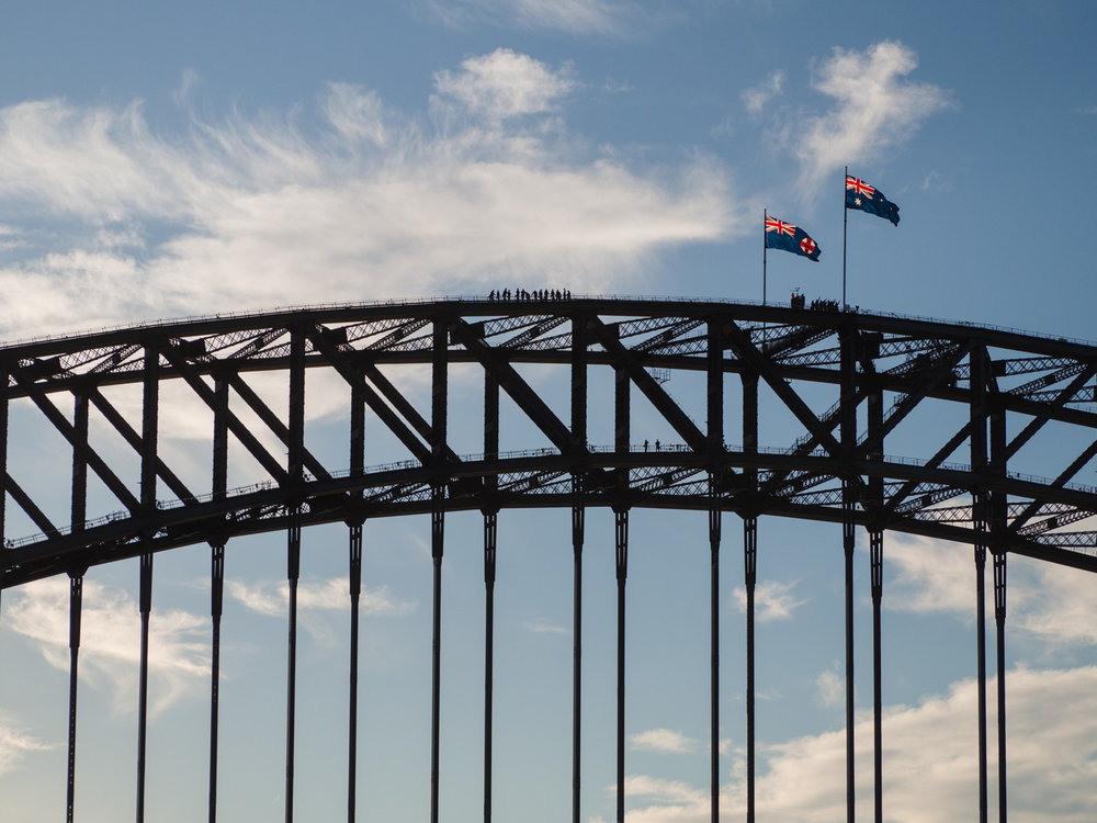 Bridge climbers on the Harbour Bridge in Sydney.