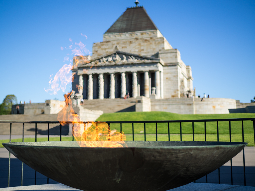 Flames at the Shrine of Remembrance.