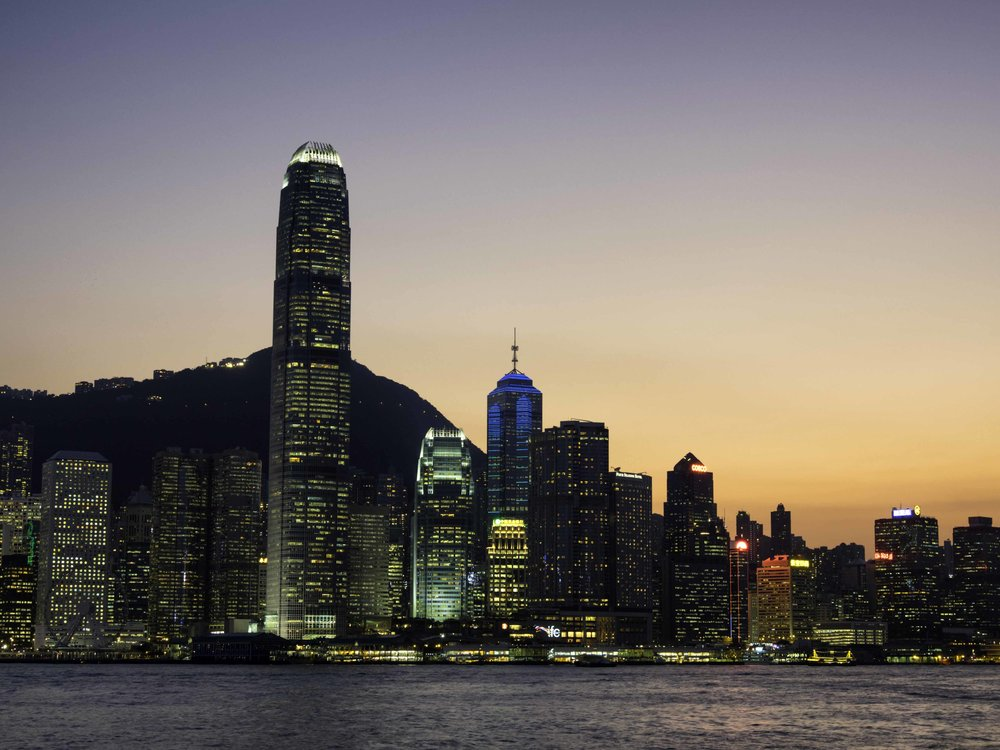 Sunset over Hong Kong Harbour, what a sight.