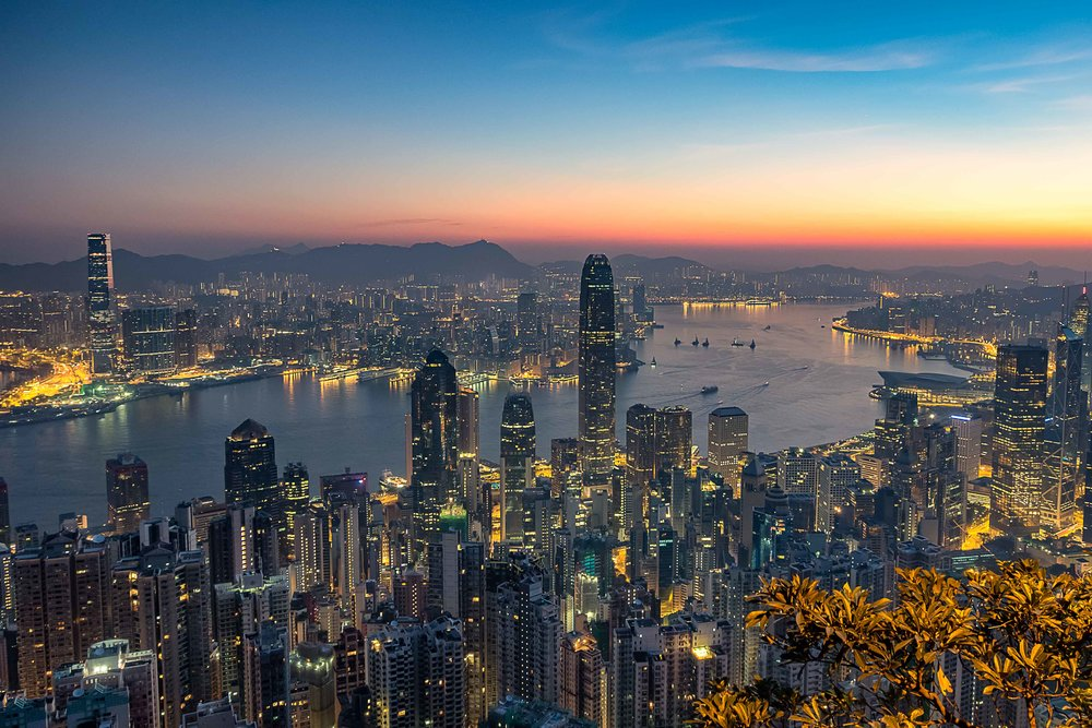 Sunrise over Hong Kong Harbour, taken from Lugard Road.