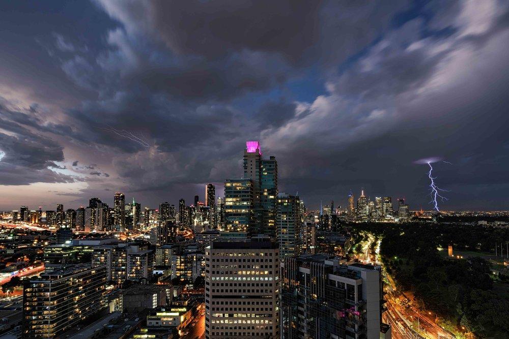 A spectacular lightning show illuminates the night sky over Melbourne.