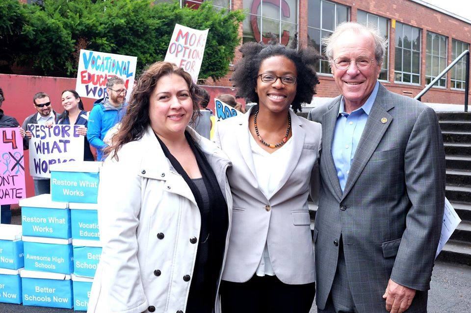 Carmen Rubio attends a Yes on 98 rally with co-petitioners Toya Fink, Oregon Stand for Children Executive Director, and former Governor Ted Kulongoski.