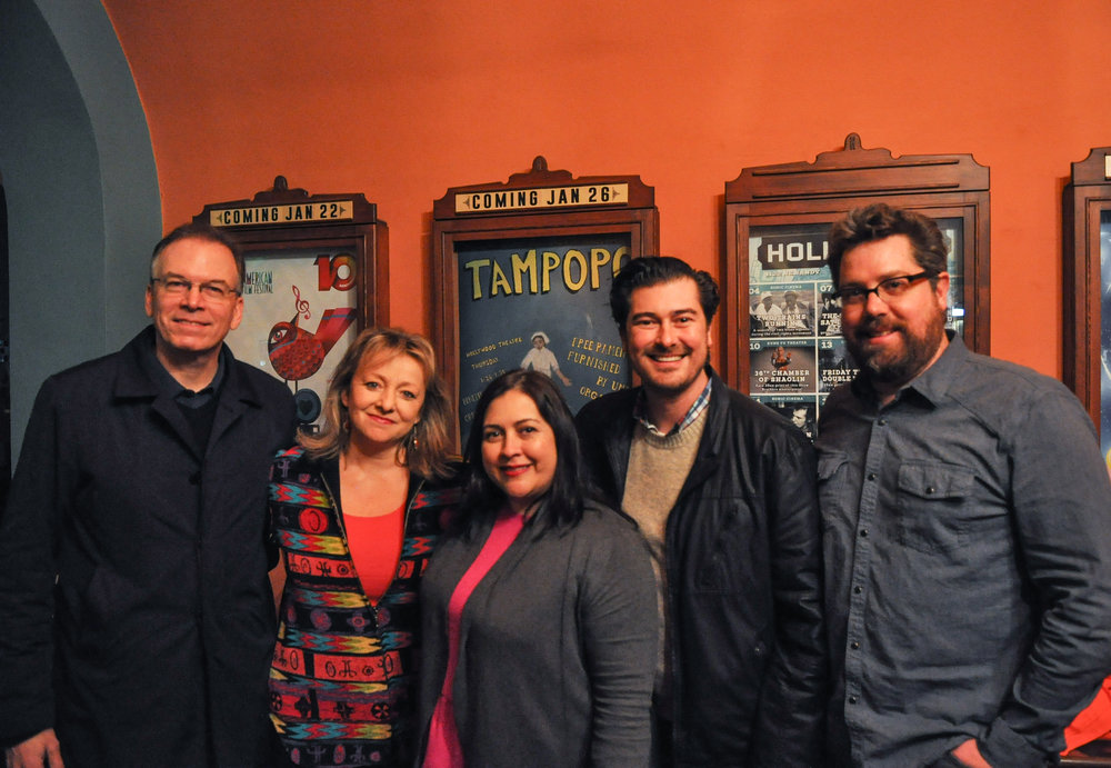 (From left) Commissioner Nick Fish, Latino Network Board Chair Maria Elena Campisteguy, Latino Network Executive Director Carmen Rubio, Latino Network Arts & Culture Manager Joaquin Lopez, and Hollywood Theatre Executive Director Doug Whyte