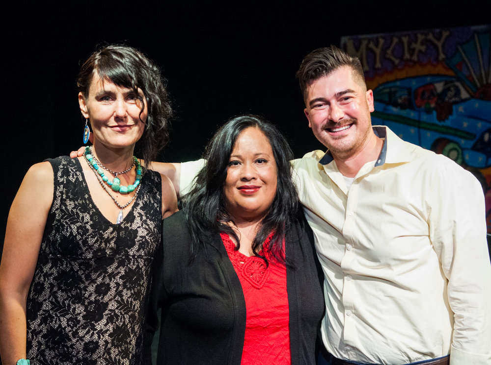 [Left to right] Dawn Joella Jackson, Anabertha Alvarado, and the creator of Voz Alta, Joaquin Lopez