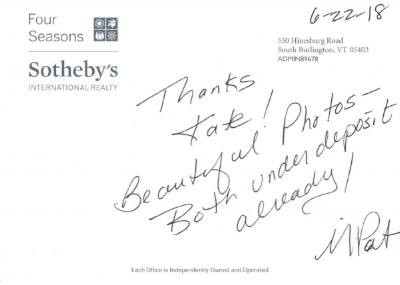 Thank-you card from Mary Pat Palmer of Fours Seasons Sotheby's International Realty.