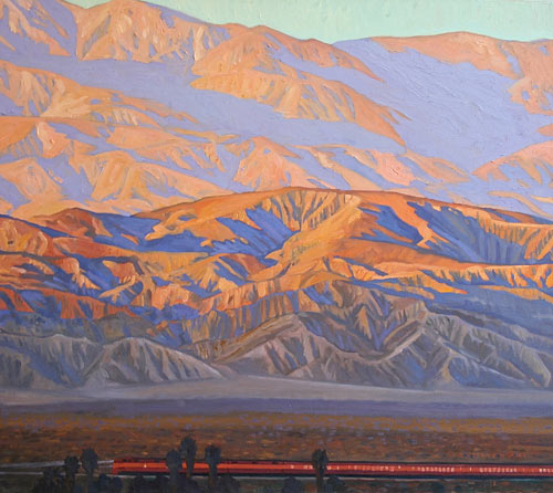 "Dennis Ziemienski, ""The Sunset in Coachella Valley,"" oil, 32 x 36 in. Maxwell Alexander Gallery"