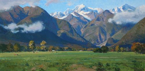 "Josh Elliott, ""Southern Alps,"" oil, 15 x 30 in. Maxwell Alexander Gallery"