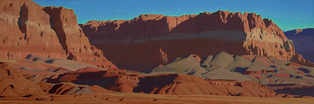 "(SOLD) Logan Maxwell Hagege ""Shades of Vermilion"" 20″x60″ Oil"