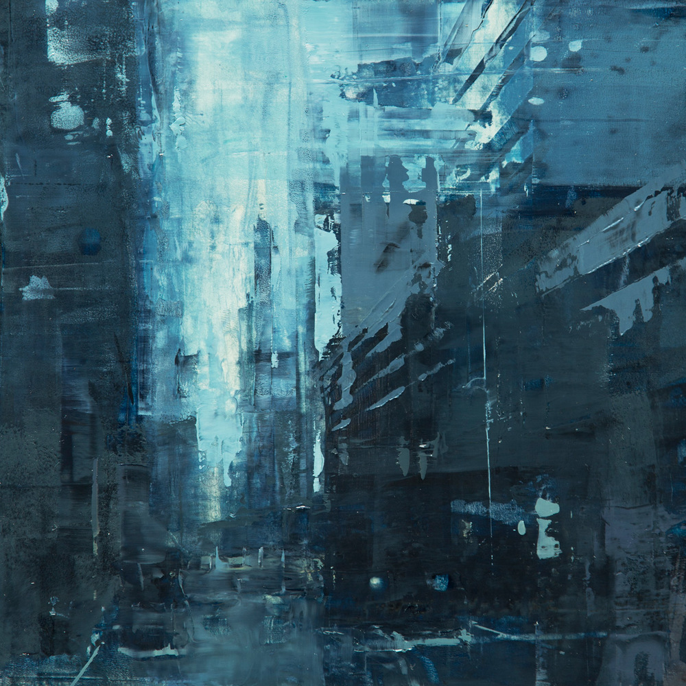 "(SOLD) Jeremy Mann ""Cityscape Composed Form Study #7″ 6″x6"" Oil"