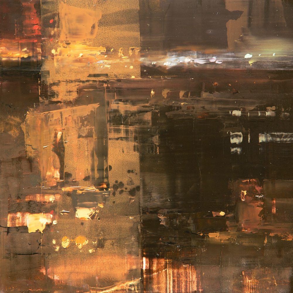 "(SOLD) Jeremy Mann ""Cityscape Composed Form Study #6″ 6″x6"" Oil"