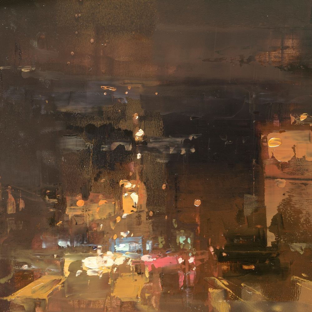 "(SOLD) Jeremy Mann ""Cityscape Composed Form Study #14″ 6″x6"" Oil"