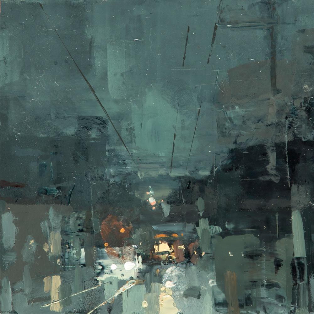 "(SOLD) Jeremy Mann ""Cityscape Composed Form Study 1″ 6″x6"" Oil"