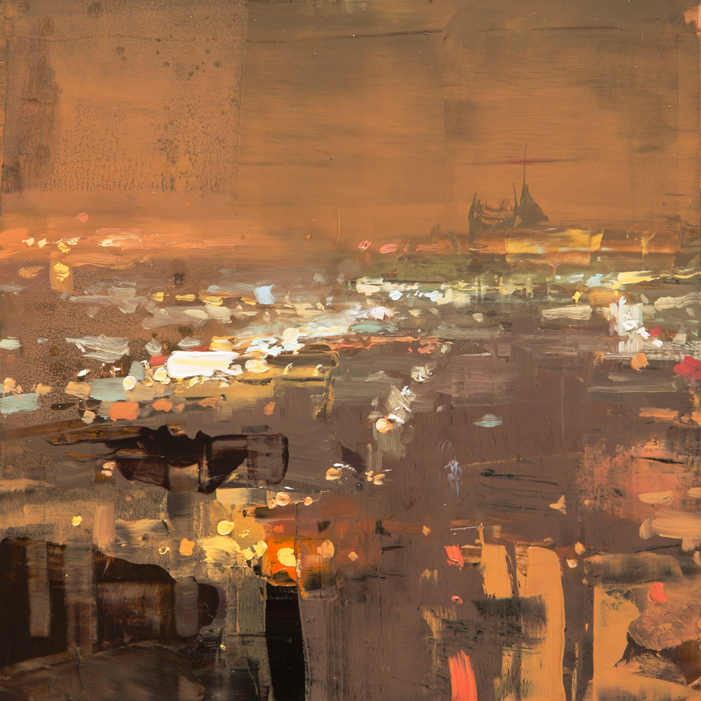 "(SOLD) Jeremy Mann ""Cityscape Composed Form Study 4″ 6″x6"" Oil"