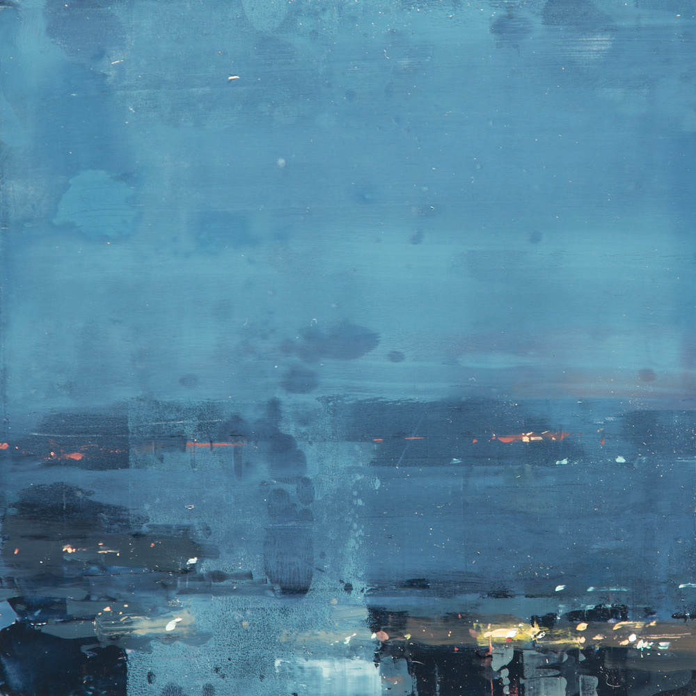 "(SOLD) Jeremy Mann ""Cityscape Composed Form Study 3″ 6″x6"" Oil"