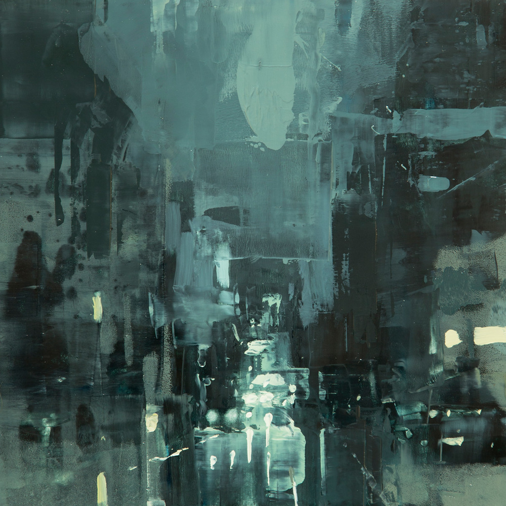 "(SOLD) Jeremy Mann ""Cityscape Composed Form Study #10″ 6″x6"" Oil"