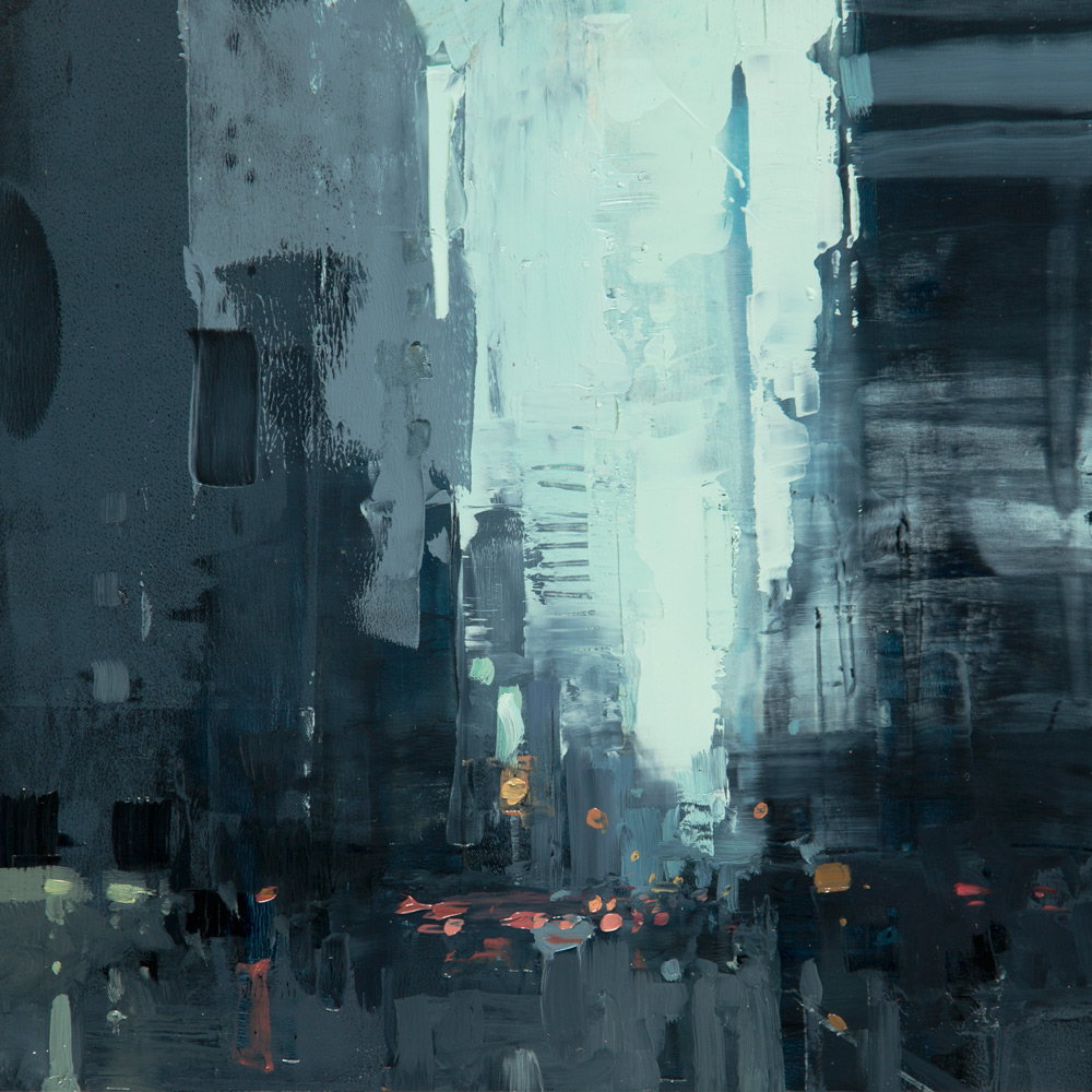 "(SOLD) Jeremy Mann ""Cityscape Composed Form Study 5″ 6″x6"" Oil"