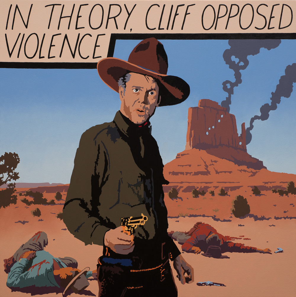 "Billy Schenck	""Cliff Opposed Violence"" 36″x36″ Oil"