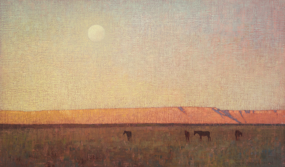 "David Grossmann ""Grazing at Dusk"" 20″x34″ Oil"