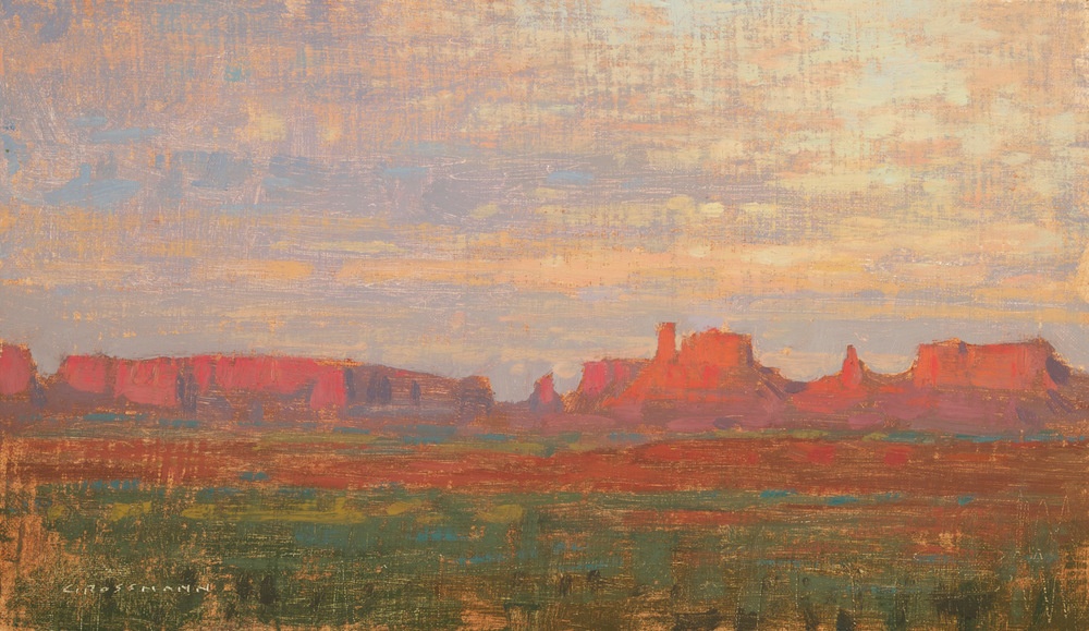 "(SOLD) David Grossmann ""Sunrise Glow, Monument Valley"" 7″x12″ Oil"