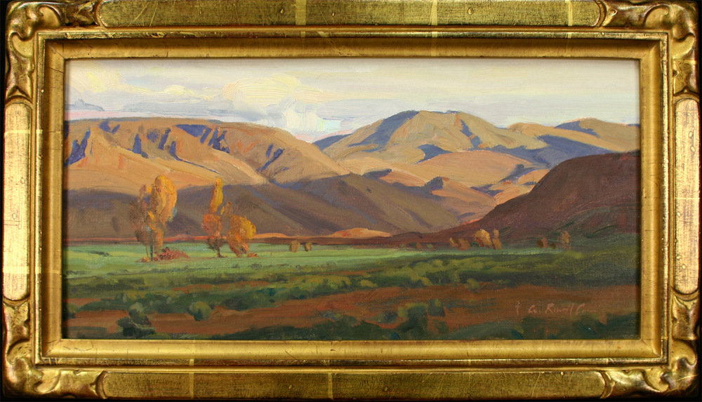 "G. Russell Case ""Evening Hills"" 7″x14″ Oil"