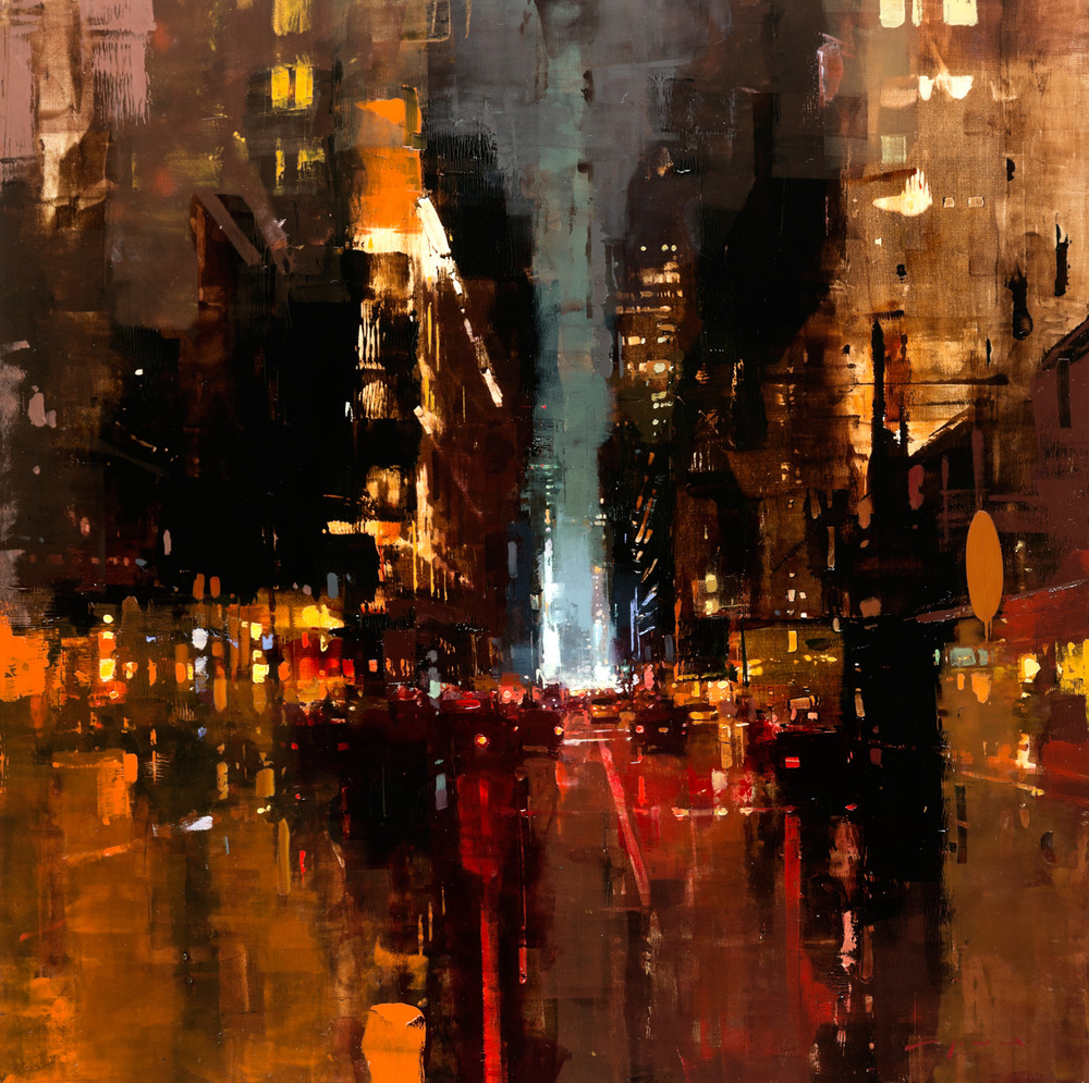 "(SOLD) Jeremy Mann ""NYC #19″ 30″x30"" Oil"