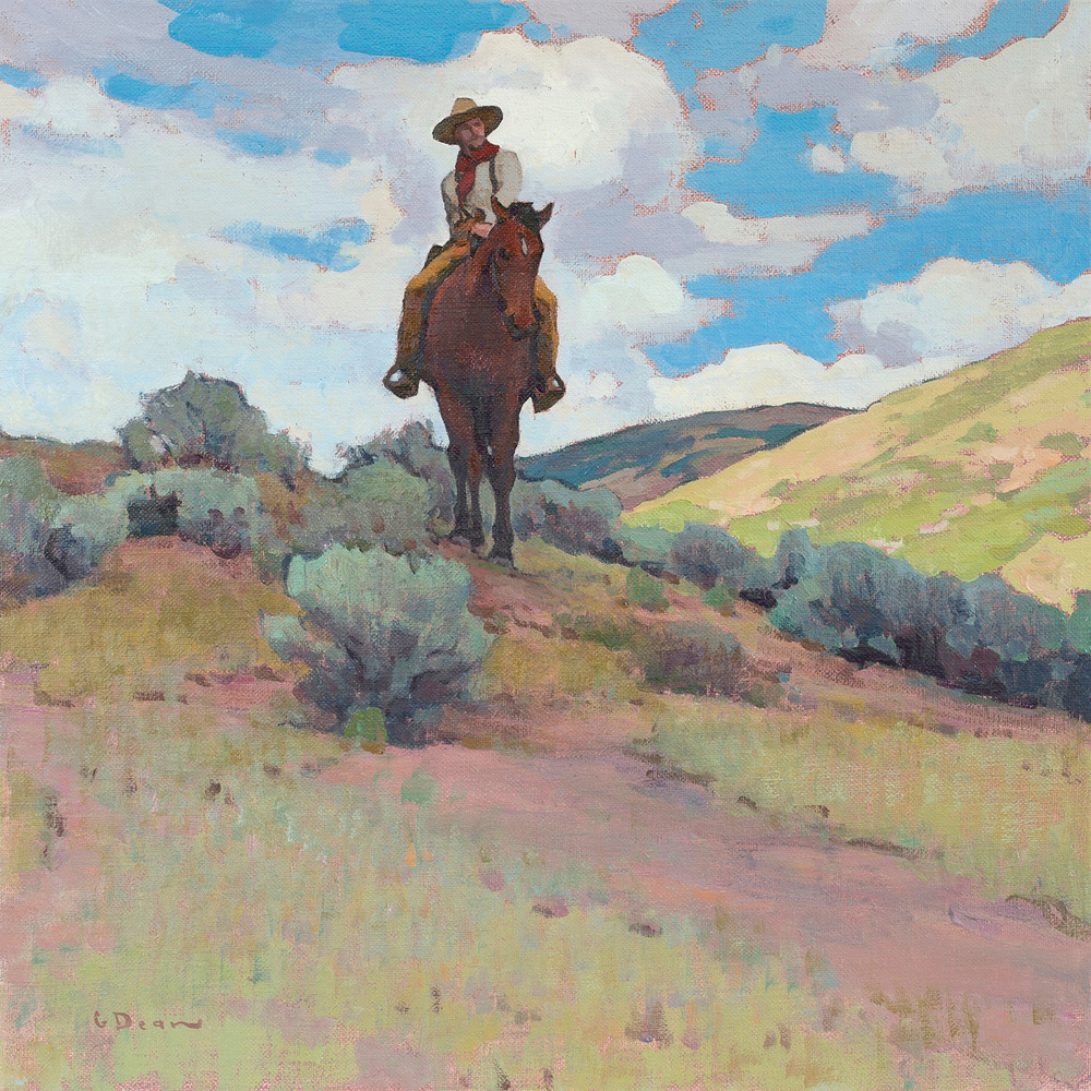 "(SOLD) Glenn Dean ""Roving the Rangeland"" 20″x20″ Oil"