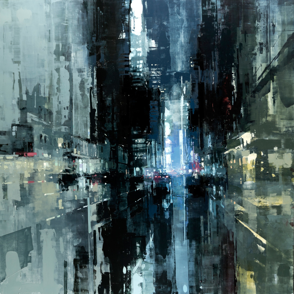 "Jeremy Mann ""NYC #20″ 48″x48"" Oil"