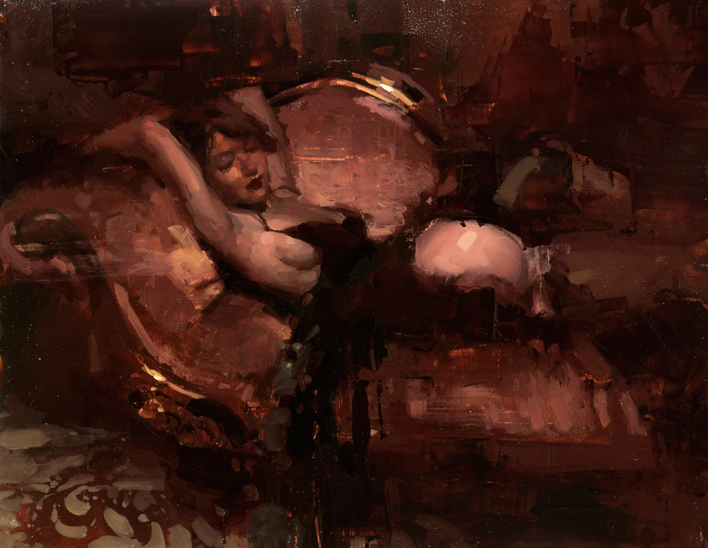 "(SOLD) Jeremy Mann ""Figure in Red #3″ 11″x14"" Oil"