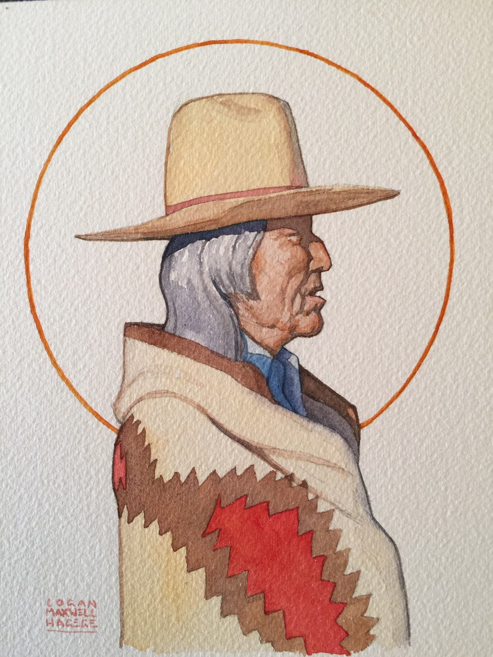 "(SOLD) Logan Maxwell Hagege ""Native Profile"" 7.25″x5.5″ Watercolor"