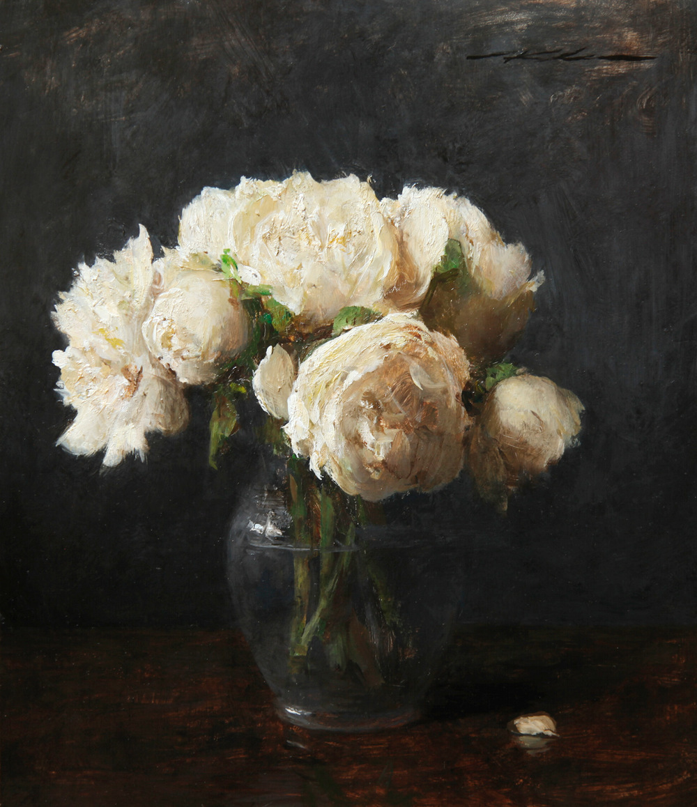"Michael Klein ""White Peonies"" 13″x11"" Oil"