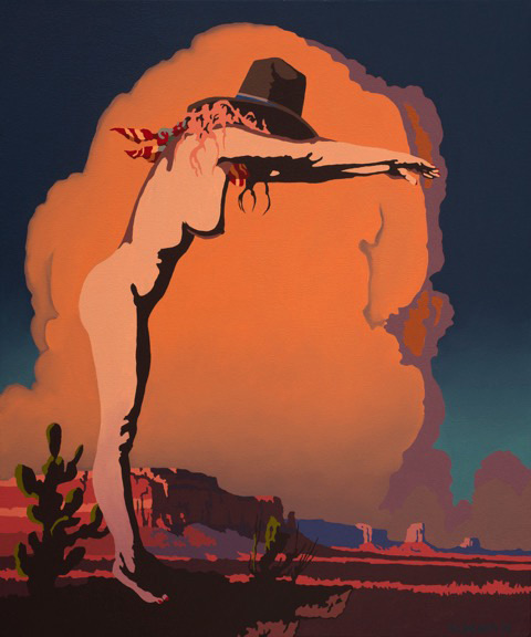 "Billy Schenck	""Phaedra Diving Deeeply into the Southwest"" 24″x20″ Oil"