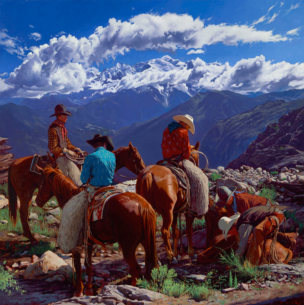 "(SOLD) Mark Maggiori ""Cowboys at Work"" 36″x36″ Oil"