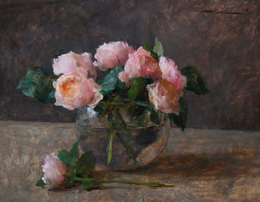 "Michael Klein ""Pink English Roses"" 12″x15″ Oil"